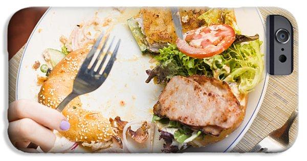 Skewed iPhone Cases - Bistro patron halfway through chicken salad bagel iPhone Case by Ryan Jorgensen