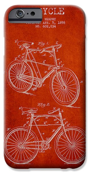 Transportation Digital Art iPhone Cases - Bisycle Patent Drawing From 1898 iPhone Case by Aged Pixel