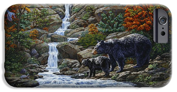Black Bear iPhone Cases - Black Bear Falls iPhone Case by Crista Forest