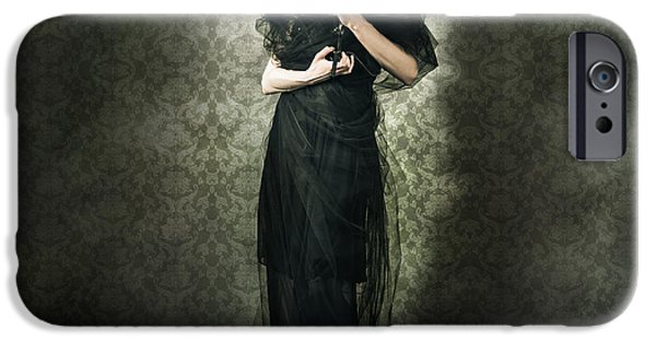 Haunted House iPhone Cases - Black Fashion Model In Dark Vintage Haunted House iPhone Case by Ryan Jorgensen