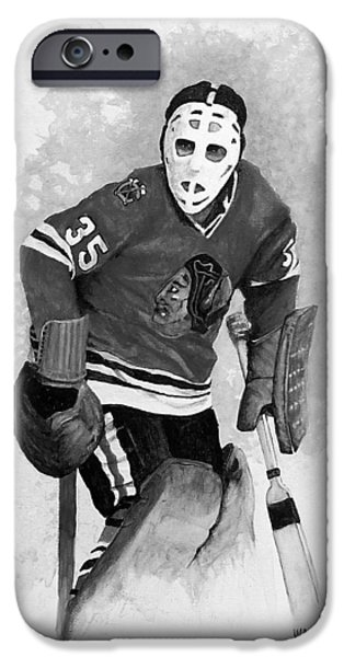 Hockey Paintings iPhone Cases - Black Hawk Shut Down iPhone Case by William Walts