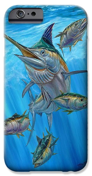Terry Fox iPhone Cases - Black Marlin And Albacore iPhone Case by Terry Fox