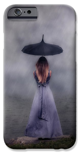Rain iPhone Cases - Black Umbrella iPhone Case by Joana Kruse