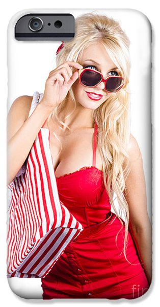 Youthful iPhone Cases - Blond woman shopping iPhone Case by Ryan Jorgensen