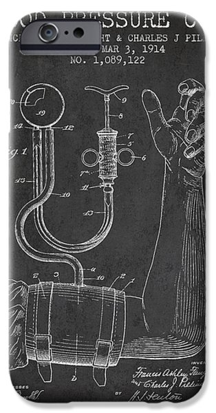 Hospital iPhone Cases - Blood Pressure Cuff Patent from 1914 iPhone Case by Aged Pixel