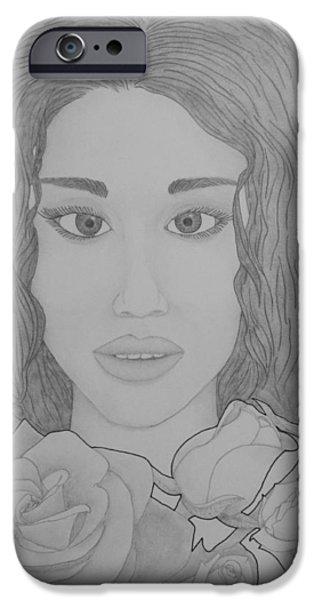 Aaron Drawings iPhone Cases - Blooming Girl Rose  iPhone Case by Aaron El-Amin