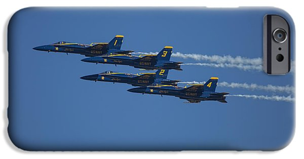 Jet Star iPhone Cases - Blue Angels Fly By 1 iPhone Case by D Wallace