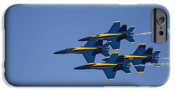 Jet Star iPhone Cases - Blue Angels Fly By 2 iPhone Case by D Wallace