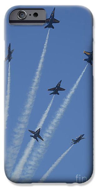 Jet Star iPhone Cases - Blue Angels Star Burst 2 iPhone Case by D Wallace