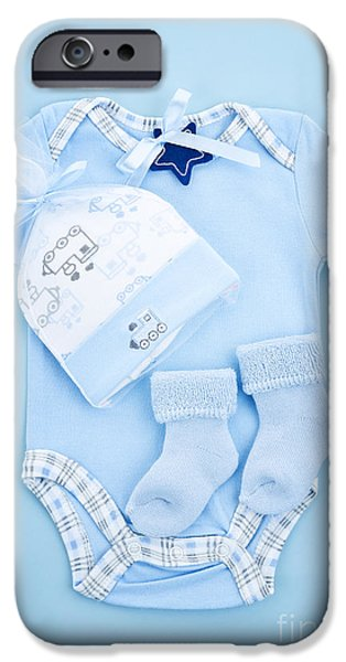 Baby Photographs iPhone Cases - Blue baby clothes for infant boy iPhone Case by Elena Elisseeva