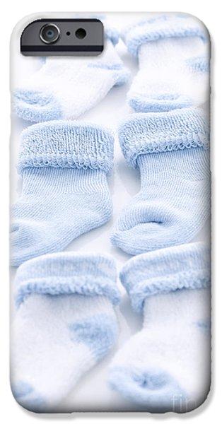 Socks iPhone Cases - Blue baby socks iPhone Case by Elena Elisseeva