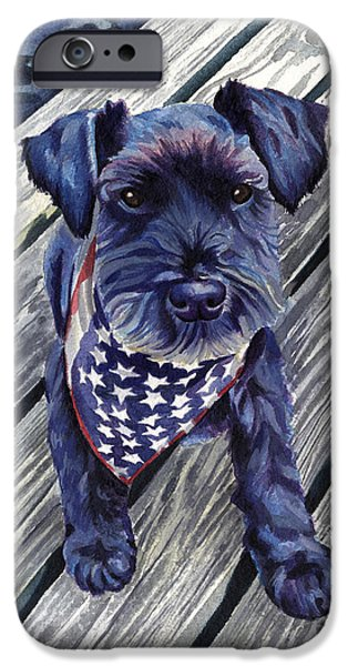 Best Sellers -  - Fourth Of July iPhone Cases - Blue Black Dog on Pier iPhone Case by Robyn Saunders