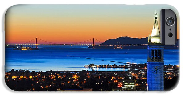 Recently Sold -  - Bay Bridge iPhone Cases - Blue Campanile and Golden Gate at Sunset iPhone Case by Joel Thai