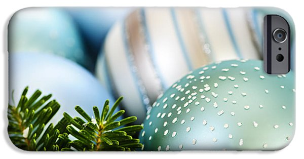Festivities iPhone Cases - Blue Christmas ornaments iPhone Case by Elena Elisseeva