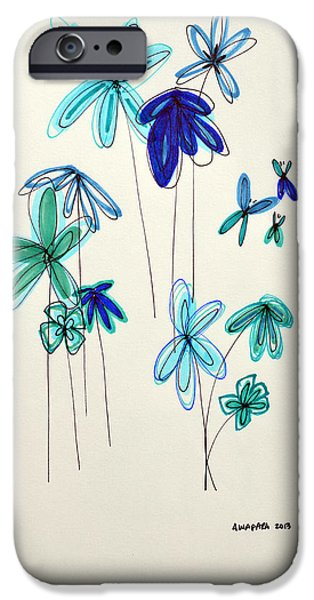 Botanical Drawings iPhone Cases - Blue Flowers iPhone Case by Patricia Awapara