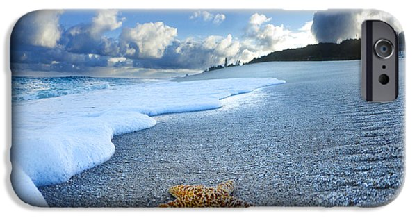 Seascape iPhone Cases - Blue Foam starfish iPhone Case by Sean Davey