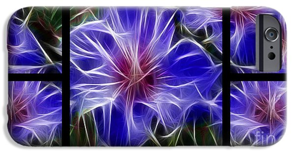 Morphed iPhone Cases - Blue Hibiscus Fractal iPhone Case by Peter Piatt