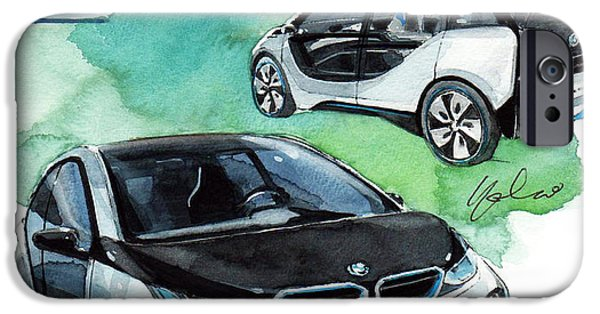 Concept Paintings iPhone Cases - BMW i3 Concept car iPhone Case by Yoshiharu Miyakawa