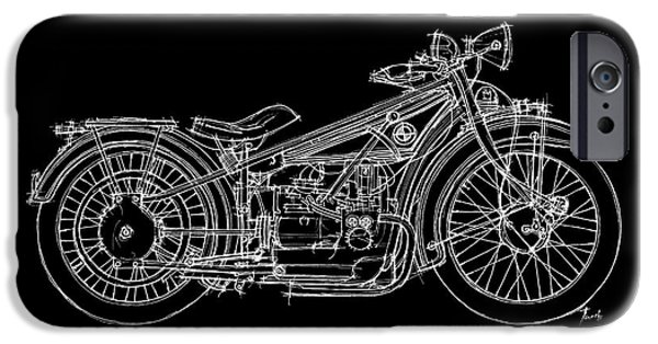 Bicycle Drawings iPhone Cases - Bmw R32 1923 iPhone Case by Pablo Franchi