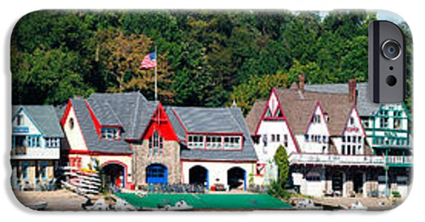 Schuylkill iPhone Cases - Boathouse Row At The Waterfront iPhone Case by Panoramic Images