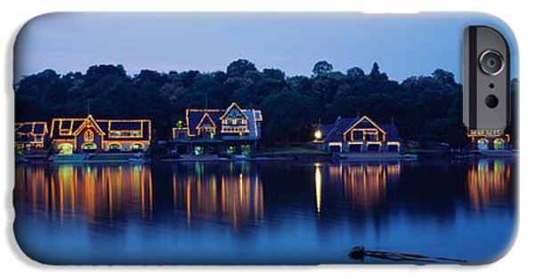 Boathouses iPhone Cases - Boathouse Row Lit Up At Dusk iPhone Case by Panoramic Images