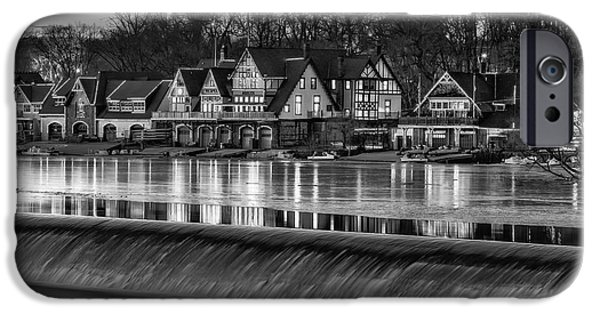 Wintertime iPhone Cases - Boathouse Row BW iPhone Case by Susan Candelario