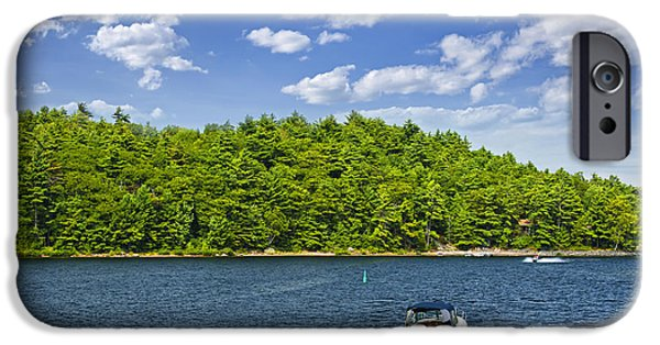 Pleasure iPhone Cases - Boating on lake iPhone Case by Elena Elisseeva
