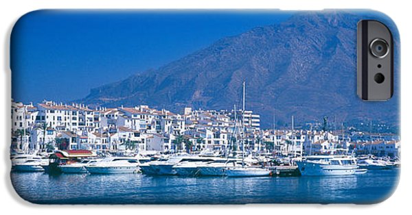 Malaga iPhone Cases - Boats At A Harbor, Puerto Banus iPhone Case by Panoramic Images