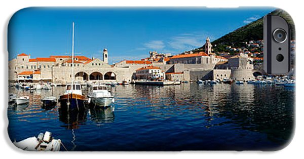 Tile Roofs iPhone Cases - Boats In The Sea, Old City, Dubrovnik iPhone Case by Panoramic Images