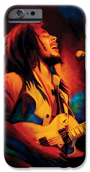 Musician Art iPhone Cases - Bob Marley Artwork iPhone Case by Sheraz A
