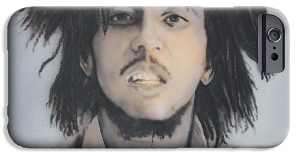 Airbrush iPhone Cases - Bob Marley iPhone Case by Fritz DesRoches
