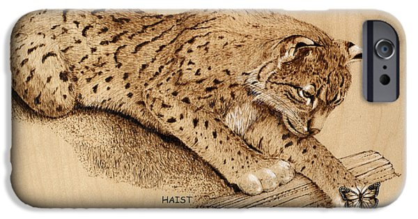 Bobcats Pyrography iPhone Cases - Bobcat iPhone Case by Ron Haist
