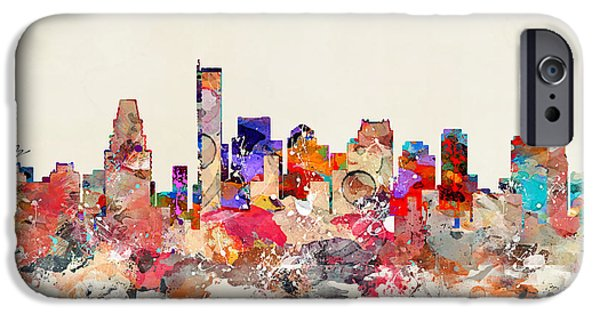 City. Boston Paintings iPhone Cases - Boston City Massachusetts iPhone Case by Bri Buckley