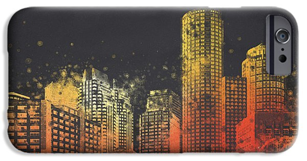 Downtown Mixed Media iPhone Cases - Boston City Skyline iPhone Case by Aged Pixel