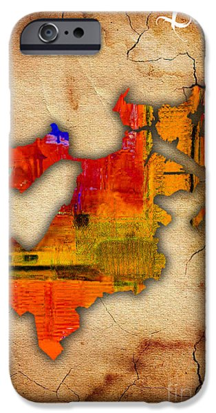Boston Map iPhone Cases - Boston Map Watercolor iPhone Case by Marvin Blaine