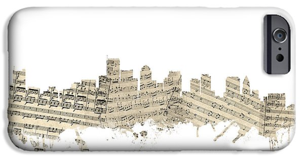 Sheets iPhone Cases - Boston Massachusetts Skyline Sheet Music Cityscape iPhone Case by Michael Tompsett
