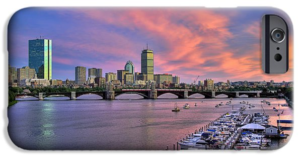 Boston Cityscape iPhone Cases - Boston Skyline Sunset iPhone Case by Joann Vitali