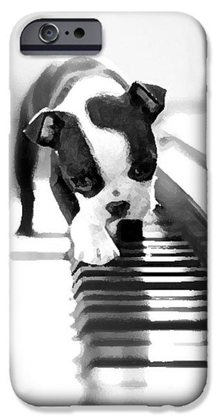 Recently Sold -  - Boston iPhone Cases - Boston Terrier Puppy Painting iPhone Case by Marvin Blaine