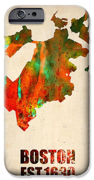 City Mixed Media iPhone Cases - Boston Watercolor Map  iPhone Case by Naxart Studio