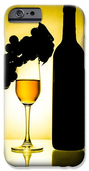 Abstracts Ceramics iPhone Cases - Bottle and wine glass iPhone Case by Sirapol Siricharattakul