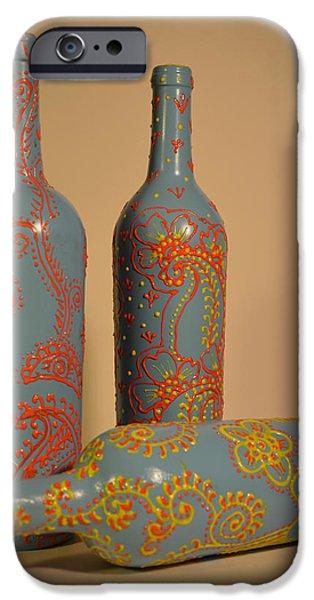 Wine Bottle Glass Art iPhone Cases - Bottle Art iPhone Case by Maddy Koushik