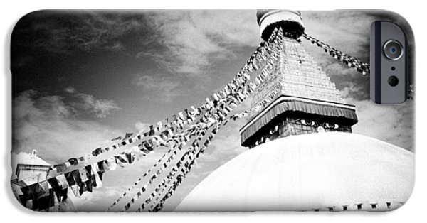 Tibetan Buddhism iPhone Cases - Boudhanath stupa  iPhone Case by Raimond Klavins