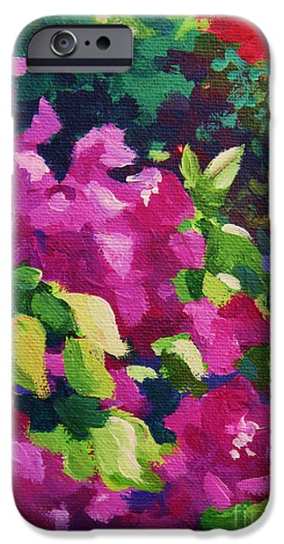 Best Sellers -  - Abstract Expressionist iPhone Cases - Bougainvillea  iPhone Case by John Clark