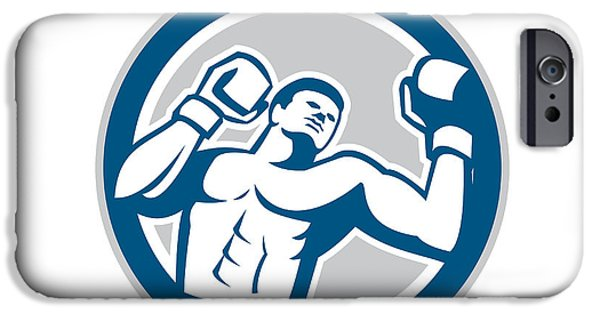 Boxer Digital iPhone Cases - Boxer Boxing Boxing Circle Retro iPhone Case by Aloysius Patrimonio