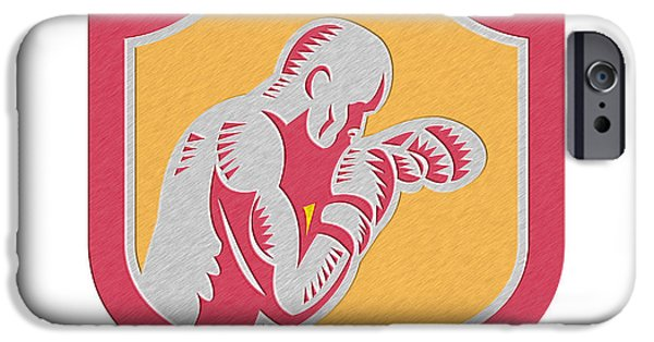 Contender Digital iPhone Cases - Boxer Boxing Jabbing Punch Side Shield Retro iPhone Case by Aloysius Patrimonio
