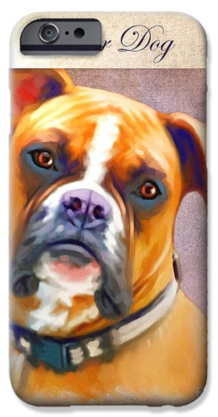 Cute Puppy Pictures Digital Art iPhone Cases - Boxer Dog Art iPhone Case by Iain McDonald