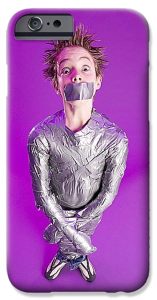 Censorship iPhone Cases - Boy Bound By Duct Tape iPhone Case by Ron Nickel