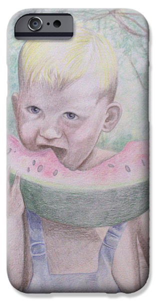 Watermelon Drawings iPhone Cases - Boy with Watermelon iPhone Case by Kathy Weidner