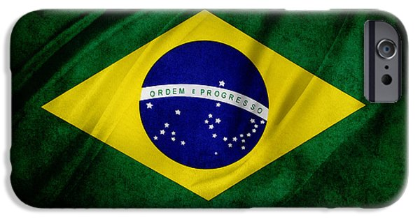 Brasil iPhone Cases - Brazilian flag iPhone Case by Les Cunliffe