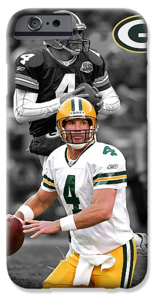 BRETT FAVRE PACKERS iPhone Case by Joe Hamilton